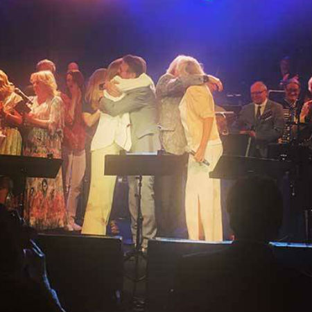 """After Agnetha and Anni-Frid sang """"The Way Old Friends Do"""" - erroneously introduced as """"You and I"""" by the compere leading initial reports to suggest they sang """"Me and I"""" - Benny and Björn joined them onstage (image via Facebook via Instagram)"""