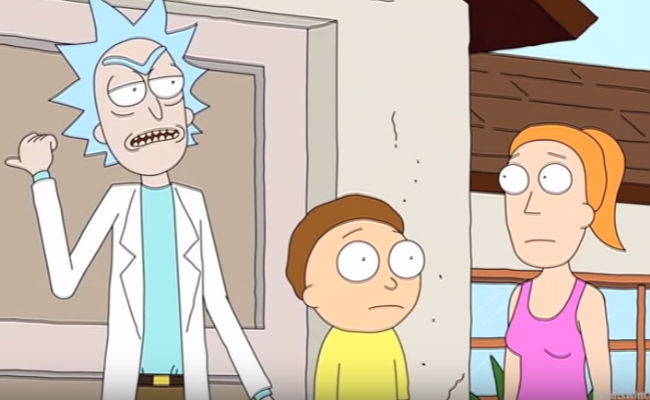 Rick and Morty dive into a pool full of liquor with Kendrick Lamar (image via YouTube (c) Adult Swim)