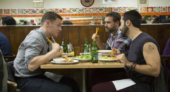 At first the joy of being back home is palpable and real and Patrick reunites easily with his BFFs Dom and Agustín but reality soon sets in (image courtesy HBO)