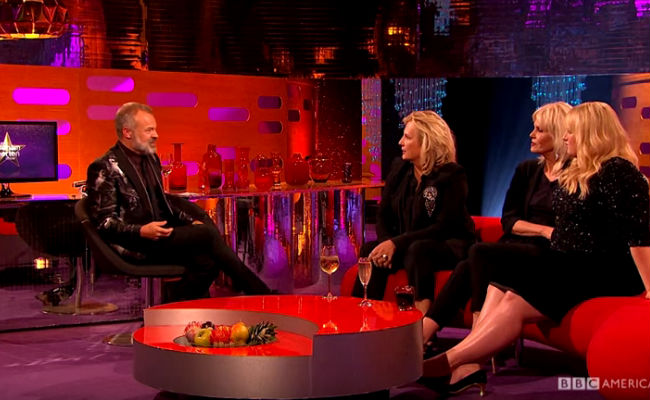 Jennifer Saunders and Joanna Lumley (with Rebel Wilson) discuss their uncomfortable first meeting with host Graham Norton (Image via YouTube (c) BBC America)