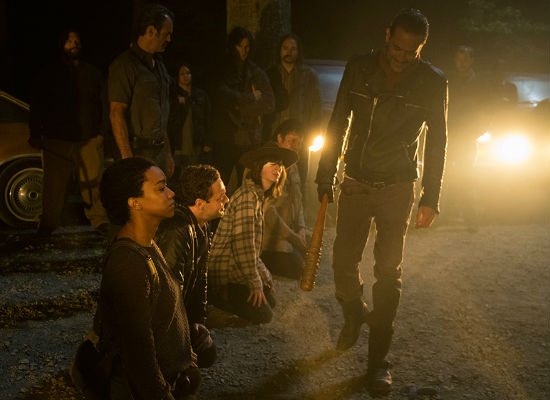 Negan all but declares the end of any kind of happiness for Rick and the gang, plunging them into a servitude where failure or resistance is met with only one response - ghastly death (image Gene Page/AMC)