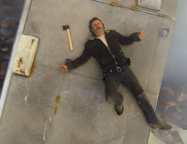 When lying atop a Winnebago surrounded by an army of walking corpses is the safest you've been all night and early morning, then you know you're in trouble Rick (Image Glen Page/AMC)