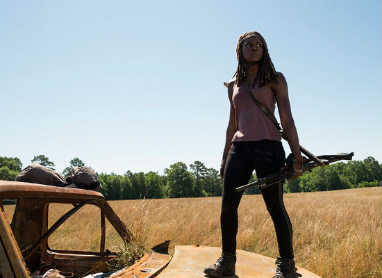 The only real resistance of any kind comes from Michonne and Rosita (image courtesy AMC)
