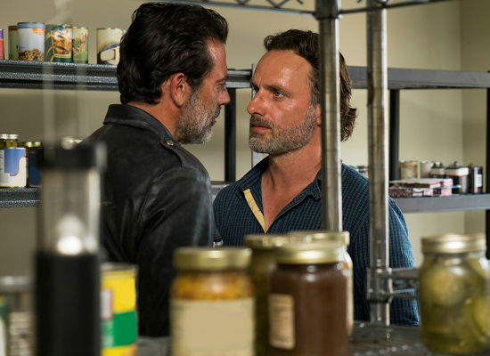 Negan comically glowers ... Rick recoils ... rinse and repeat ad nauseum (image courtesy AMC)