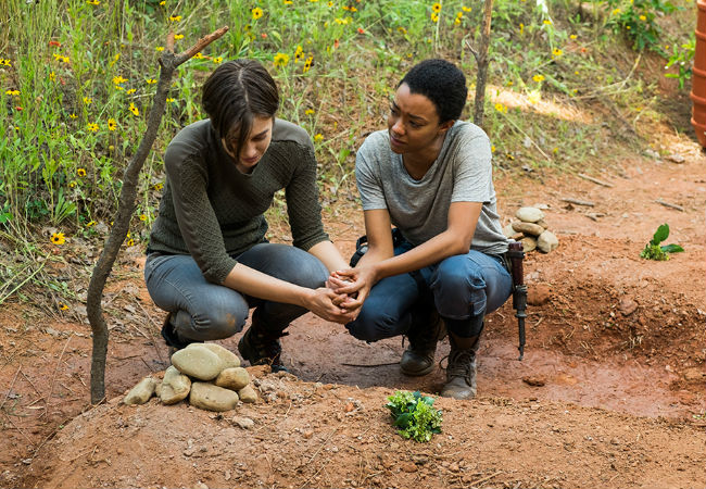 Maggie and Sasha spend much of the episode in mourning for the past until they realise the present and future need tending to as well (image courtesy AMC)