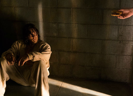Daryl finds the menu options at Negans Cell of Sensory Deprivation and Loss rather limiting, even in the zombie apocalypse (Image courtesy AMC/Gene Page)