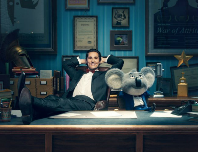 Matthew McConaughey and Buster Moon the koala (image via Hey U Guys (c) Universal Pictures)