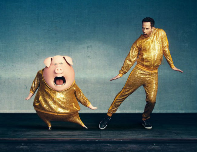 Nick Kroll as Gunter a flamboyant dancing pig (image via Hey U Guys (c) Illumination Entertainment)