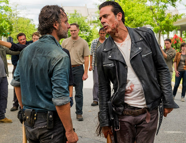 The mid season finale ends with Rick and Negan at each other's throats AGAIN ... but this time with a wholly different result (image courtesy AMC)